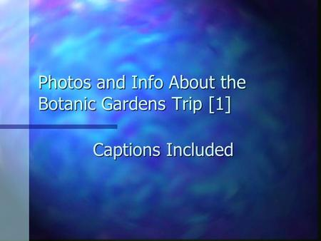 Photos and Info About the Botanic Gardens Trip [1] Captions Included.