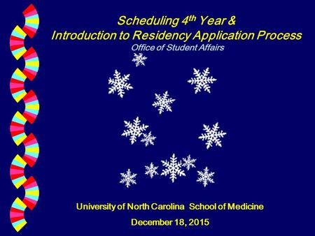 Scheduling 4 th Year & Introduction to Residency Application Process Office of Student Affairs University of North Carolina School of Medicine December.