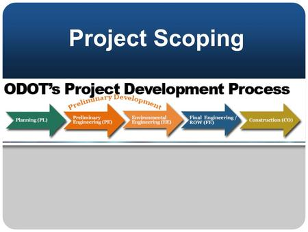 Project Scoping. Project Scoping – learning objective Who should complete the Project Initiation Package (PIP)? How is PDP Path used in scoping? Task.