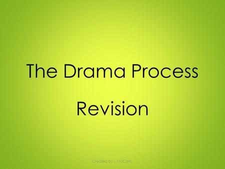 The Drama Process Revision Created by L McCarry. The Drama Process On the next slide you will see the order of the Drama Process mixed up. Read through.
