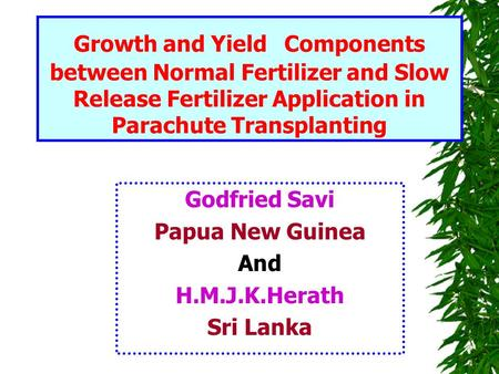 Growth and Yield Components between Normal Fertilizer and Slow Release Fertilizer Application in Parachute Transplanting Godfried Savi Papua New Guinea.