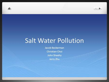 Salt Water Pollution Jacob Beckerman Christian Choi John Sheehy Jerry Zhu.