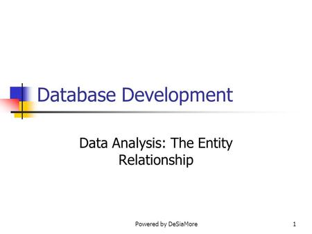 Database Development Data Analysis: The Entity Relationship Powered by DeSiaMore1.