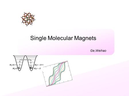 Single Molecular Magnets Ge,Weihao. Introduction What is Single Molecular Magnet? Configuration: metal atom linked by oxygen, packed in ligands Described.