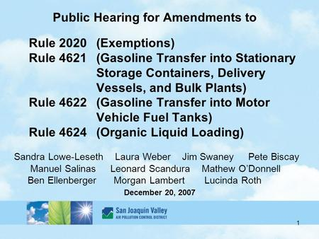 1 Public Hearing for Amendments to Rule 2020(Exemptions) Rule 4621(Gasoline Transfer into Stationary Storage Containers, Delivery Vessels, and Bulk Plants)