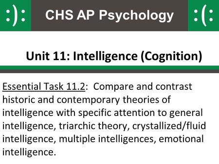 CHS AP Psychology Unit 11: Intelligence (Cognition) Essential Task 11.2: Compare and contrast historic and contemporary theories of intelligence with specific.