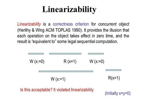 Linearizability Linearizability is a correctness criterion for concurrent object (Herlihy & Wing ACM TOPLAS 1990). It provides the illusion that each operation.
