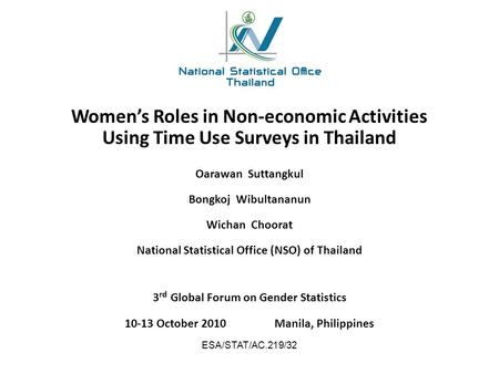 Women's Roles in Non-economic Activities Using Time Use Surveys in Thailand 3 rd Global Forum on Gender Statistics 10-13 October 2010Manila, Philippines.