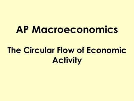 AP Macroeconomics The Circular Flow of Economic Activity