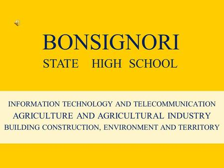 BONSIGNORI INFORMATION TECHNOLOGY AND TELECOMMUNICATION AGRICULTURE AND AGRICULTURAL INDUSTRY BUILDING CONSTRUCTION, ENVIRONMENT AND TERRITORY STATE HIGH.