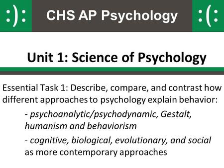 CHS AP Psychology Unit 1: Science of Psychology Essential Task 1: Describe, compare, and contrast how different approaches to psychology explain behavior: