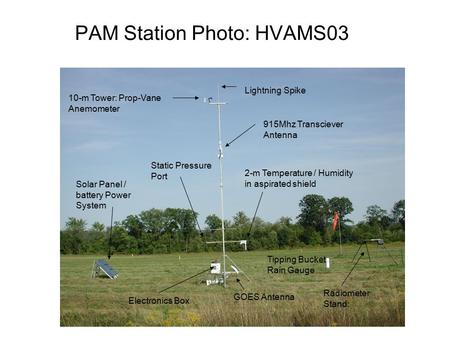 PAM Station Photo: HVAMS03 10-m Tower: Prop-Vane Anemometer Lightning Spike Solar Panel / battery Power System 2-m Temperature / Humidity in aspirated.