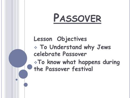 P ASSOVER Lesson Objectives  To Understand why Jews celebrate Passover  To know what happens during the Passover festival.