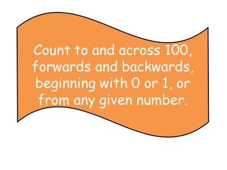 Count to and across 100, forwards and backwards, beginning with 0 or 1, or from any given number.
