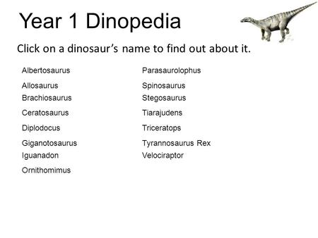 Year 1 Dinopedia Click on a dinosaur's name to find out about it. Albertosaurus Allosaurus Brachiosaurus Ceratosaurus Diplodocus Giganotosaurus Iguanadon.