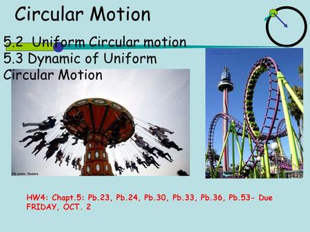 5.2 Uniform Circular motion 5.3 Dynamic of Uniform Circular Motion Circular Motion HW4: Chapt.5: Pb.23, Pb.24, Pb.30, Pb.33, Pb.36, Pb.53- Due FRIDAY,