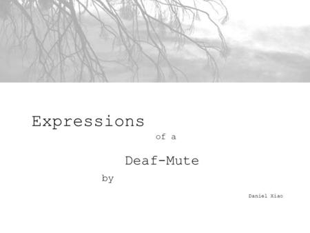 Expressions of a Deaf-Mute by Daniel Xiao. statement This series of photographs revolves around the idea of the passive observer. They focus on tranquil.