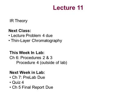 Lecture 11 IR Theory Next Class: Lecture Problem 4 due Thin-Layer Chromatography This Week In Lab: Ch 6: Procedures 2 & 3 Procedure 4 (outside of lab)