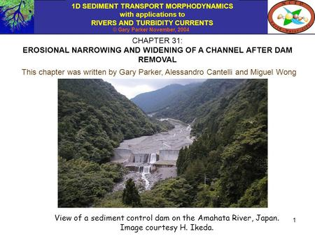 1D SEDIMENT TRANSPORT MORPHODYNAMICS with applications to RIVERS AND TURBIDITY CURRENTS © Gary Parker November, 2004 1 CHAPTER 31: EROSIONAL NARROWING.