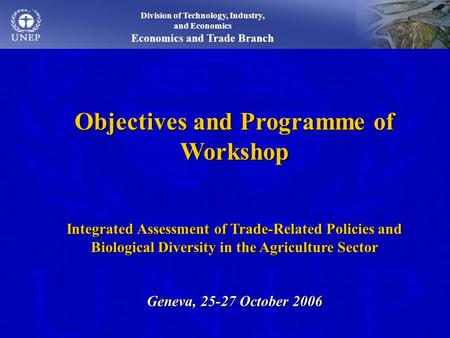 Division of Technology, Industry, and Economics Economics and Trade Branch Objectives and Programme of Workshop Integrated Assessment of Trade-Related.