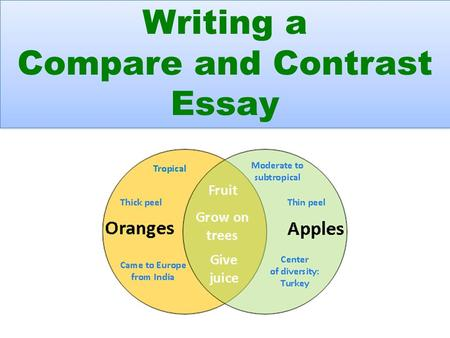 Writing a Compare and Contrast Essay Writing a Compare and Contrast Essay.
