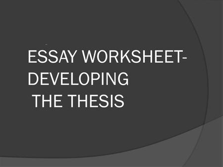 ESSAY WORKSHEET- DEVELOPING THE THESIS -. The Question Compare the diffusion and influence of religion in the following regions: South Asia East Asia.