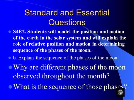 Standard and Essential Questions