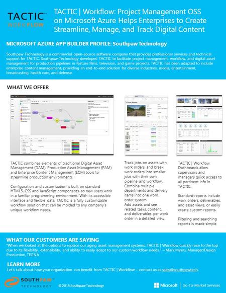 TACTIC | Workflow: Project Management OSS on Microsoft Azure Helps Enterprises to Create Streamline, Manage, and Track Digital Content MICROSOFT AZURE.