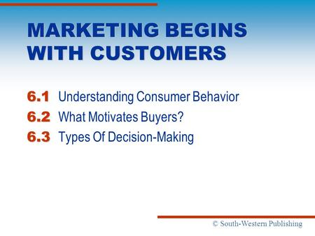 © South-Western Publishing MARKETING BEGINS WITH CUSTOMERS 6.1 6.1 Understanding Consumer Behavior 6.2 6.2 What Motivates Buyers? 6.3 6.3 Types Of Decision-Making.