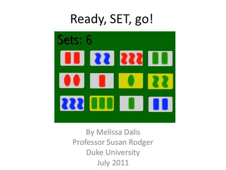 Ready, SET, go! By Melissa Dalis Professor Susan Rodger Duke University July 2011.