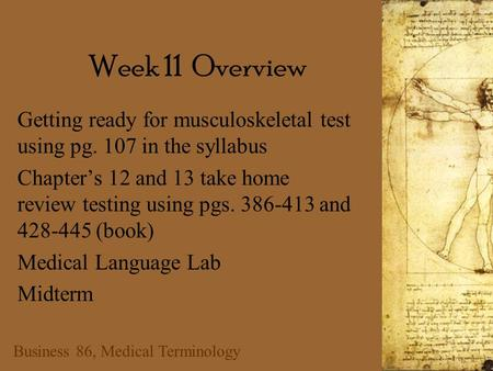 Business 86, Medical Terminology Week 11 Overview Getting ready for musculoskeletal test using pg. 107 in the syllabus Chapter's 12 and 13 take home review.