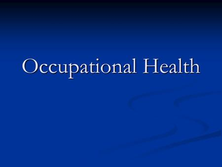 Occupational Health It was established on 7 April 1948. WHO is governed by 192 Member States through the World Health Assembly.