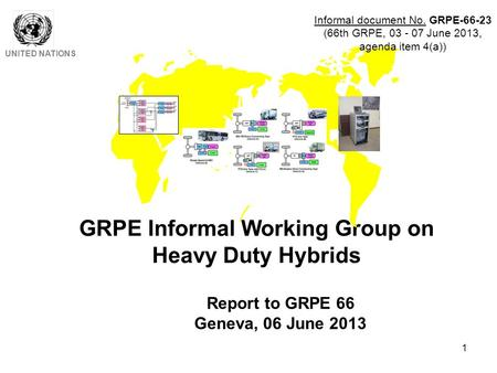 1 GRPE Informal Working Group on Heavy Duty Hybrids UNITED NATIONS Report to GRPE 66 Geneva, 06 June 2013 Informal document No. GRPE-66-23 (66th GRPE,