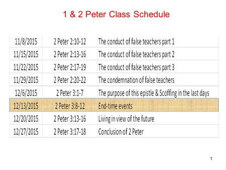 1 1 & 2 Peter Class Schedule. 2 8 But do not let this one fact escape your notice, beloved, that with the Lord one day is like a thousand years, and a.