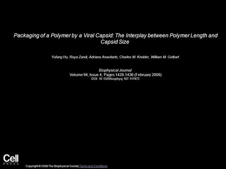 Packaging of a Polymer by a Viral Capsid: The Interplay between Polymer Length and Capsid Size Yufang Hu, Roya Zandi, Adriana Anavitarte, Charles M. Knobler,