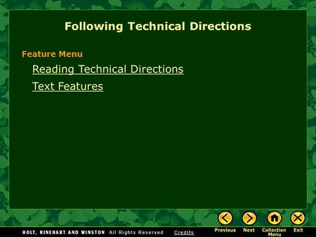 Reading Technical Directions Text Features Following Technical Directions Feature Menu.