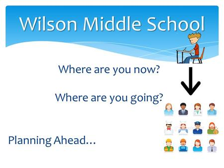 Where are you now? Where are you going? Planning Ahead… Wilson Middle School.