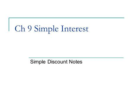 Ch 9 Simple Interest Simple Discount Notes. Notes Notes are short term loans.  Simple Interest Notes Section 1  Simple Discount Notes This section…