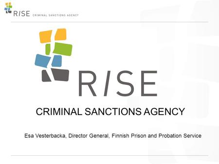 CRIMINAL SANCTIONS AGENCY Esa Vesterbacka, Director General, Finnish Prison and Probation Service.