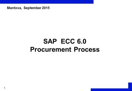 1 SAP ECC 6.0 Procurement Process Mantova, September 2015.