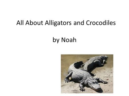 All About Alligators and Crocodiles by Noah by Noah McCoy.