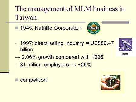 The management of MLM business in Taiwan 1945: Nutrilite Corporation - 1997: direct selling industry = US$80.47 billion → 2.06% growth compared with 1996.