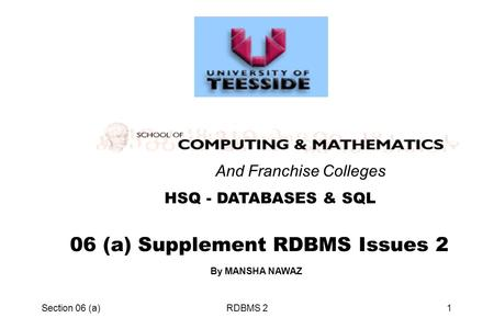 Section 06 (a)RDBMS 21 06 (a) Supplement RDBMS Issues 2 HSQ - DATABASES & SQL And Franchise Colleges By MANSHA NAWAZ.