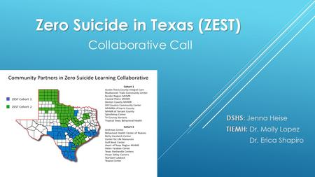 Zero Suicide in Texas (ZEST) Zero Suicide in Texas (ZEST) Collaborative Call DSHS: DSHS: Jenna Heise TIEMH: TIEMH: Dr. Molly Lopez Dr. Erica Shapiro.