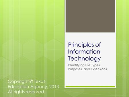 Principles of Information Technology Identifying File Types, Purposes, and Extensions Copyright © Texas Education Agency, 2013. All rights reserved.