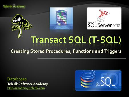 Creating Stored Procedures, Functions and Triggers Telerik Software Academy  Databases.