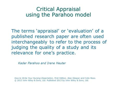Critical Appraisal using the Parahoo model