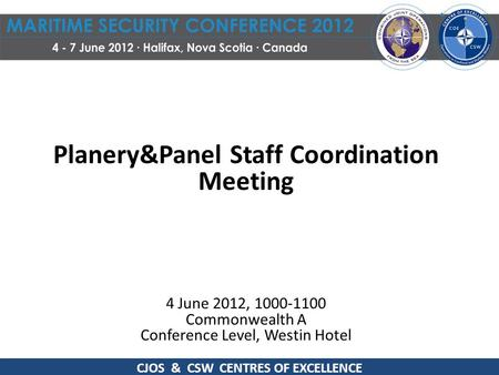 Planery&Panel Staff Coordination Meeting 4 June 2012, 1000-1100 Commonwealth A Conference Level, Westin Hotel CJOS & CSW CENTRES OF EXCELLENCE.