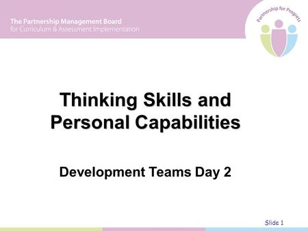 Thinking Skills and Personal Capabilities Development Teams Day 2 Slide 1.