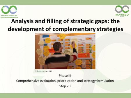 Analysis and filling of strategic gaps: the development of complementary strategies Phase III Comprehensive evaluation, prioritization and strategy formulation.